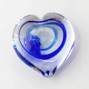 Blown Glass Cremation Memorial Heart